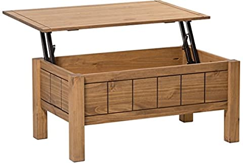 Corona Lift Up Coffee Table with Storage - Mexican Design - Waxed Pine - Solid Wood