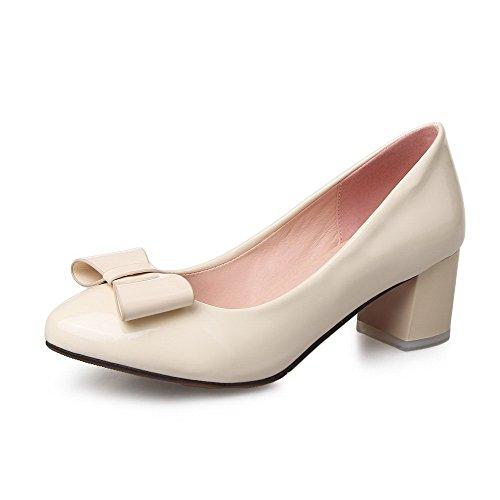 Senhoras Agoolar Apontou Toe Bombas De Salto Médio Puxar Creme Sapatos