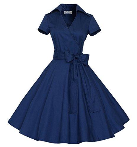 Bigood Hepburn Robe Vintage Années 50's Femme Coton Robes Manche Courte Col V Cocktail Bal Elégant Bleu