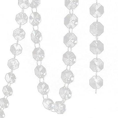 QHGstore 14mm Crystal Clear Acrylic Octagonal Bead Hanging Wedding Decor Trees Centerpiece