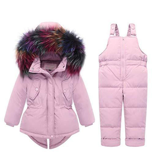 Kinder Set Daunenjacke mit Kaputze Bekleidungsset Baby Kinder Junge Mädchen Verdickte Winterjacke + Winterhose Daunenhose Jacket Kinder Winterjacke Mantel (pink, Höhe 80CM-85CM (Etikett 80))