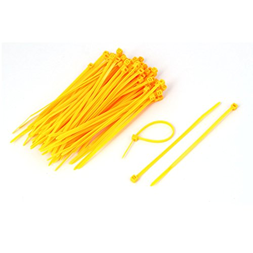 sourcingmap® 100 Pcs 3mm Wide 100mm Long Cable Wire Management Zip Ties Yellow Test