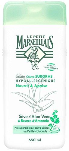 Le Petit Marseillais Douche Crème Surgras Hypoallergénique Sève d'Aloe Vera/Beurre d'Amande Flacon de 650 ml