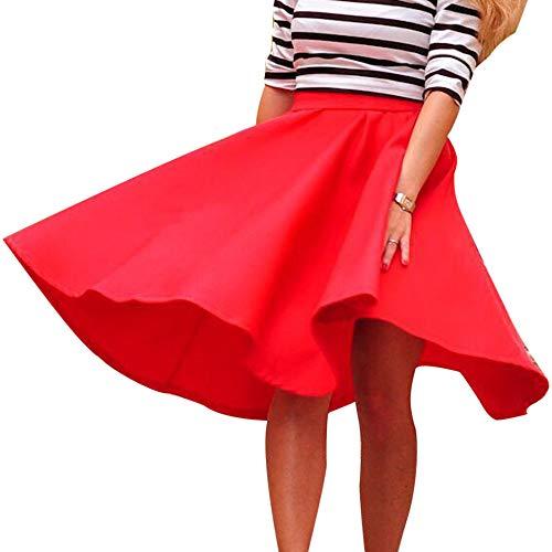 IZHH Damenmode-Rock, Vintage Damen Solid Color Faltenrock Stretch Hohe Taille Skater Ausgestelltes Schaukel Langer Rock üBer Dem Knie OL Rock Kleid (Rot,M)