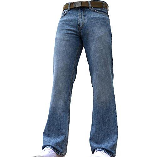 BNWT Herren Jeans, Weiter Saum, Bootcut, unten ausgestellt, schwer, blau, denim, jeans, alle Bundweiten & Größen verfügbar, Blau - Hellblau, 40W / 32L (Denim Saum)