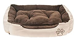 Lennox Hundbett 61 x 48 x 18cm Hundekissen Hundekorb Katzenbett mit Wendekissen Braun