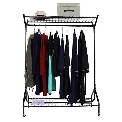 EBTOOLS Metall Kleiderständer Kleiderstange Garderobenständer mit schuhablage und obersten Regal,Rollender