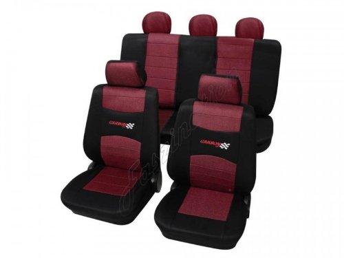 Coprisedili per auto, set completo, Fiat, 127, 128, Cinquecento, Marea, Panda 750, Panda 1000, Panda da 8/2003 ,rosso nero
