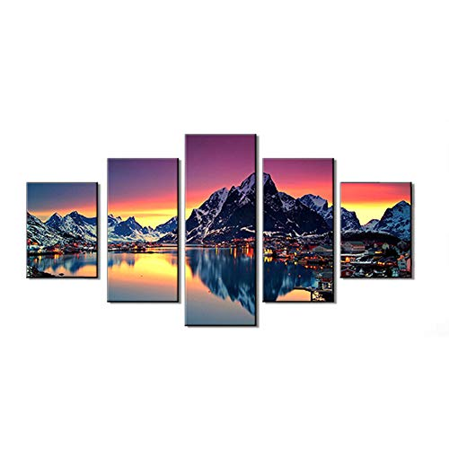 DIY 5D Diamond Painting by Number Kit for Adult,Full Drill Diamond Painting Lake and Mountains,Embroidery Cross Stitch Arts Craft Home Wall Decoration,37.5×17.7in