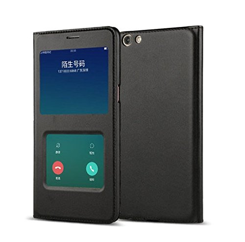 SPL Original Smart Magnetic PU Leather Window Auto Wake Up Sleep Flip Cover Case Shell for OPPO F3 - Black