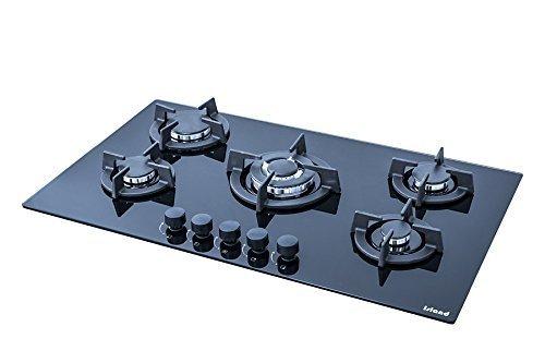 Insel Saphir 905i, 90cm 5Brenner eingebautem Keramik schwarz Glas Gasherd mit FFD, gratis LPG-Kit & Gusseisen Pfanne steht