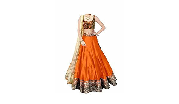 f0b07fca6d D H Creation Women's Orange Embroidered Benglory Silk Semi Stitched Lehenga  Choli: Amazon.in: Clothing & Accessories