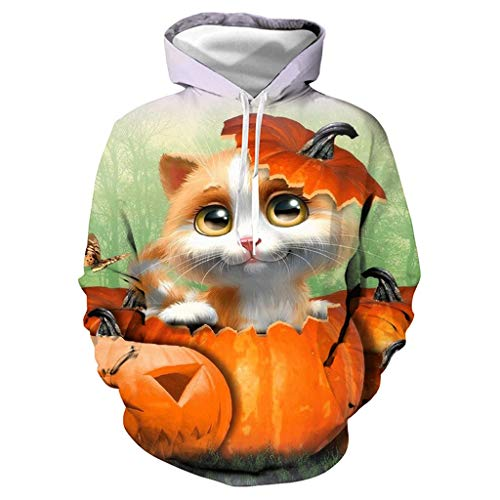 WQIANGHZI Halloween Hoodies Männer Katze Kapuzen Sweatshirts Männer Kürbis Laterne 3D Print Hoodies Trainingsanzüge -