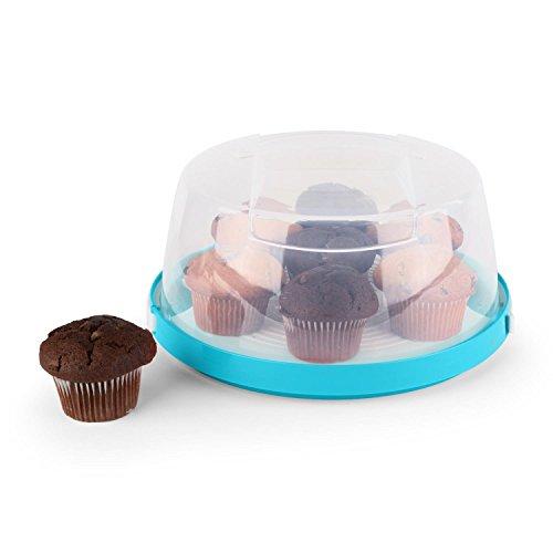 Klarstein Boîte de transport à gâteaux cloche transparente cupcakes Ø26cm -bleu