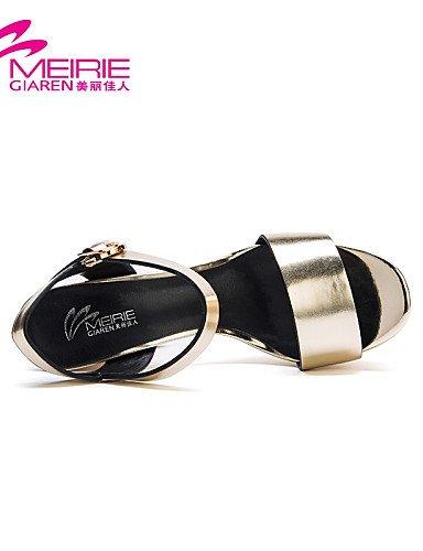 UWSZZ Die Sandalen elegante Comfort Schuhe Frau - Sandalen - Büro und Arbeit/Casual-Heels/Tick/Open - Quadrat - Farbe - Silber/Gold Silver
