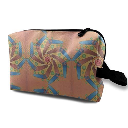 Boomerang Sun Mandala_2850 Tragbare hängende Reise-Kulturbeutel-Make-upwerkzeuge und -bürsten für den Schönheitsspiegel Pink Sparkle