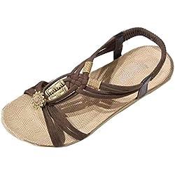 Malloom Verano Bohemia sandalias con cuentas de clip sandalias zapatos de playa (38, Marrón)