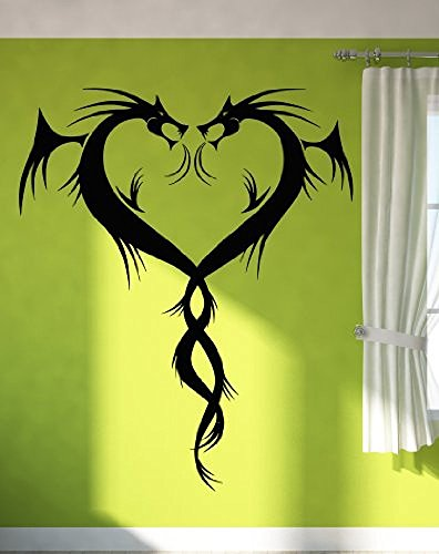 GGWW Wall Stickers Vinyl Decal Dragons Hearts Romantic Gothic Decor For Bedroom (Z1358I)
