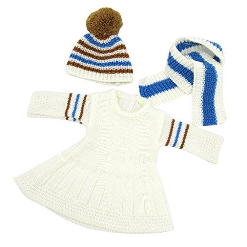 Schal Girl Doll American (Gazechimp 3pcs Niedliche Puppenkleidung Set - Strick Pullover Kleid + Halstuch + Hut - Anzug Für 18 '' American Girl Puppen - Weiß Kleid + langen Schal)