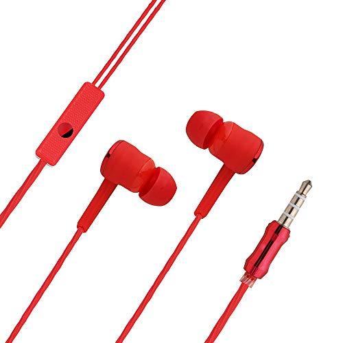 Yowablo Ohrhörer Universal In-Ear3.5mm Stereo Headset mit Mikrofon für Handy ( rot )