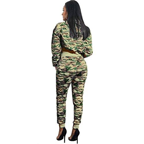 Ensemble Deux 2 Pièces Épais Chaud Militaire Camo Camouflage Sweat à Capuche Hoodie Sweatshirt Sweat-Shirt Court Courte Crop Haut Top Pantalon de Survêtement Survêtement Armée Vert