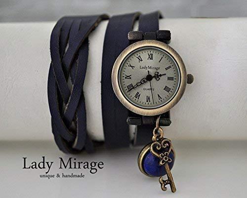 Lady Mirage - handgefertigt und personalisierbar Lapis Lazuli - Echtleder Armbanduhr