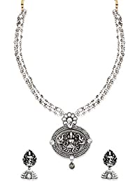 Zaveri Pearls Antique Silver Long Goddess Temple Necklace Set For Women-ZPFK6317