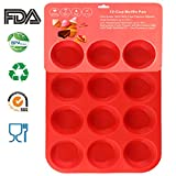 Philonext Pan, 12-Tasse Muffin Tabletts roter Silikon Cupcake BackPfannen/Non Stick/GeschirrSpüler-MikroWelle sicher, 32,7 x 24,5 x 2,8