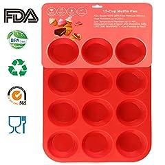 Idea Regalo - Philonext Pan - Vassoi per Muffin, 12 Tazze, in Silicone, per Cupcake, 32,7 x 24,5 x 2,8 cm, Colore: Rosso