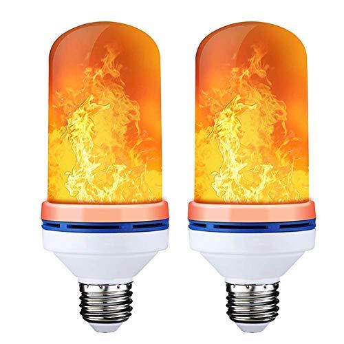 Newthinking Flamme Lampe, E27 LED Flamme Effekt Glühbirnen, 4 Modi auf den Kopf Effekt Simuliert Dekorative Licht Atmosphäre Beleuchtung Vintage Flaming für Halloween/Home/Hotel/Bar Party (2 Pack)