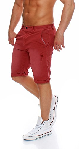 Z-ONE Herren destroyed Bermuda Shorts Mens Pants kurze Hose Chino Shorts Bordeaux