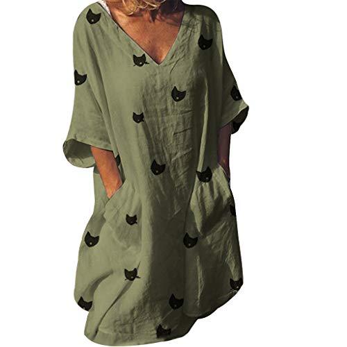 WUDUBE Femme Robe Chic  Col en V Manches Courtes en Coton et Lin Robe de Plage D'été Casual Poche Chat Imprime Robe