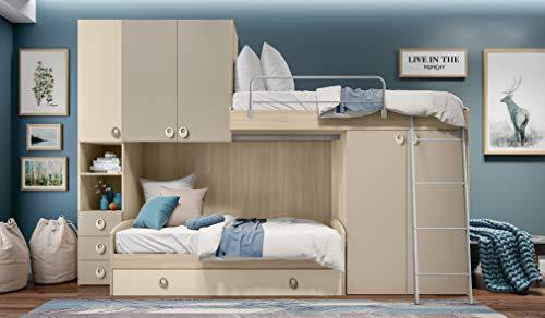 Inhouse srls camera a ponte color olmo e visone con due letti - divano letto e letto a soppalco - e armadio integrato. altezza 236 - lunghezza 345 - profondità 86,5.