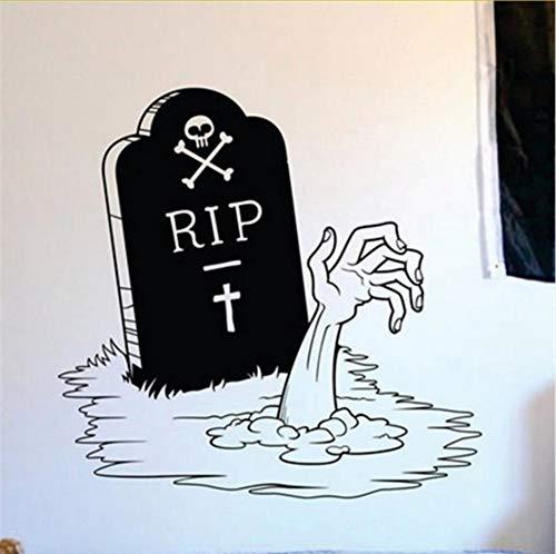Mrhxly Happy Halloween Zombie Hand Und Grabstein Wohnzimmer Vinyl Skulptur Aufkleber Für Weihnachtsfeier Fenster Dekor 58 * 58 Cm (Cartoon Grabsteine Halloween)