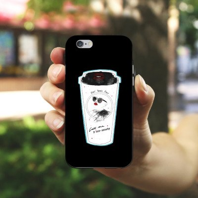 Apple iPhone X Silikon Hülle Case Schutzhülle Kaffee Becher Comic Silikon Case schwarz / weiß