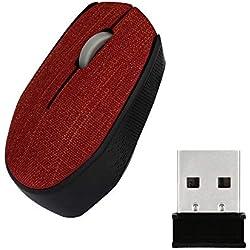 Vimoli Mouse 2.4Ghz Slim Portable Optique Souris sans Fil Tissu Doux Souris de Couverture 2400dpi USB Réglables Facile à Utiliser pour Pro PC Gamer Mac Ordinateur Portable (Rouge)