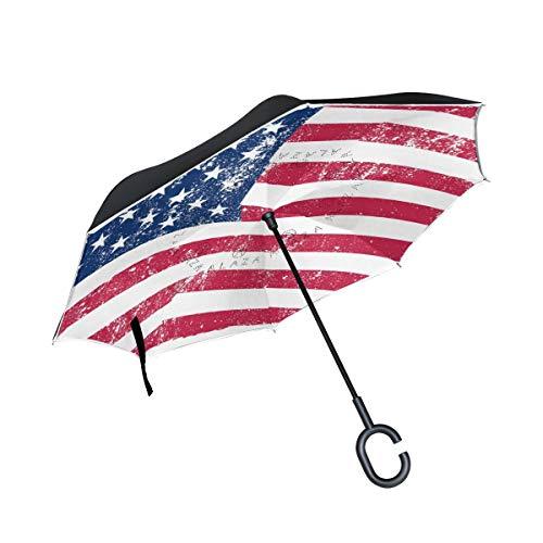 HYJDZKJY Doppelschicht-umgekehrter Regenschirm-Auto-Rückseiten-Regenschirm USA-amerikanische Flaggen-Weinlese-winddichter UVbeweis-Spielraum-im Freienregenschirm