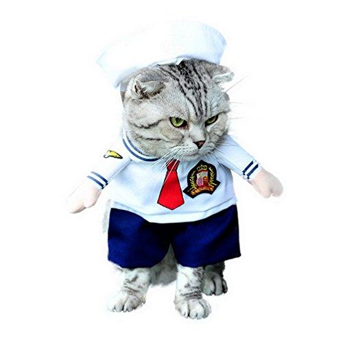 selmai Sailor Hund Kostüm mit Hut Marineblau Cosplay Pet Kostüm Alle Jahreszeiten weiß, für kleine Hund Katze - Männlich Sailor Kostüm Halloween