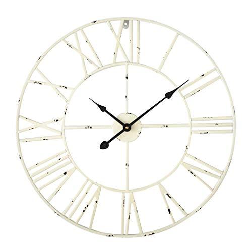 Antic by Casa Chic - Große Metall Wanduhr mit Quarz Uhrwerk - 60 cm Durchmesser - Römische Ziffern - Vintage Zeiger - Antik Weiß