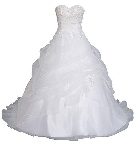 Romantic-Fashion Brautkleid Hochzeitskleid Weiß Modell W075 A-Linie Lang Satin Trägerlos Perlen...