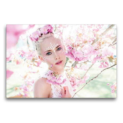 Frühlingsfee Kind Kostüm - Calvendo Premium Textil-Leinwand 75 cm x 50 cm quer, Frühlingsfee | Wandbild, Bild auf Keilrahmen, Fertigbild auf echter Leinwand, Leinwanddruck Menschen Menschen