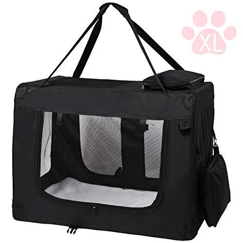 MC Star leichte Transportbox für Haustiere mit Fleece-Matte tragbar faltbar, Hundekäfig,XL,Schwarz