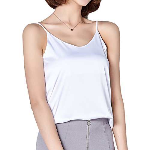 Andux Zone Camisole Unterhemd Frauen Satin Basic Full Slip V Neck Ärmellos Side Split Tops Fashion Tank T-Shirt SS-DDBX-01 (M, White) - Satin Spaghetti Strap Camisole
