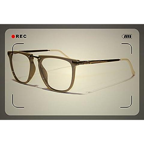 Grigio Vintage Retro lenti trasparenti Occhiali Geek Nerd occhiali in metallo lucido mondo Eye Wear