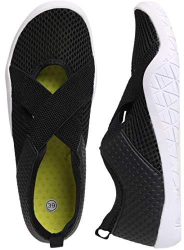 WHITIN Scarpe da Immersione Donna Barefoot Scarpe da Corsa su Strada Scarpette da Bagno per Sport Surf Yoga Nero 39 EU