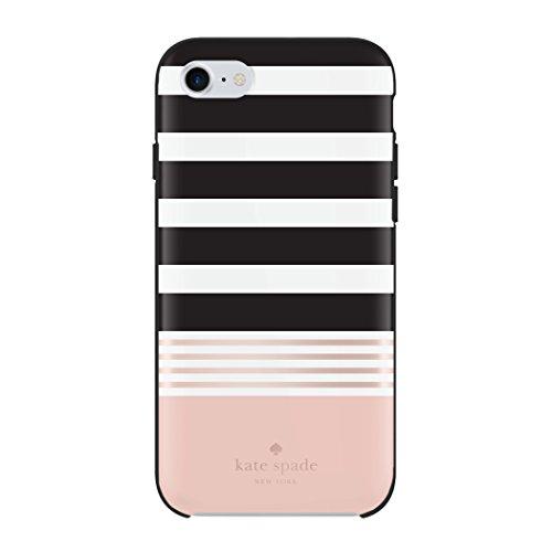 Kate Spade New York Hardshell Case Schutzhülle für Apple iPhone 7 / 8 - schwarz/weiß/rose [Hochglanz Design | Goldenes Logo | Hochwertige Materialien] - KSIPH-055-STBWR