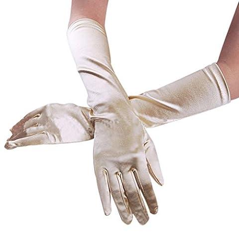 BXT Premium Elastische Satin Brauthandschuhe Hochzeithandschuhe Party Bankett Handschuhe Kleid Elegant Zubehör für Damen Frauen in Verschiedene