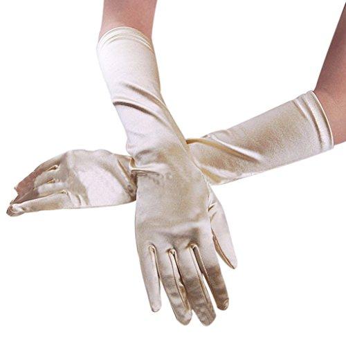 BXT Premium Elastische Satin Brauthandschuhe Hochzeithandschuhe Party Bankett Handschuhe Kleid Elegant Zubehör für Damen Frauen in Verschiedene Farbe (Länge Stretch-satin-handschuhe)