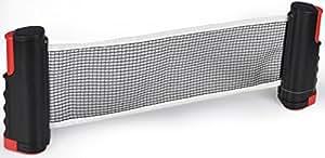 Rete da Ping Pong Allungabile Fino a 175 cm, Rete da Tavolo Fino a 5 cm,Rete da Ping-Pong per Tavoli Nero + Rosso