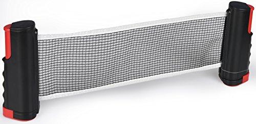 HOGAR AMO Tischtennisnetz Ausziehbar bis 175 cm, bis 5 cm Tischplattenstärke Netzgarnitur Ping-Pong-Netz für Tischtennisplatten Schwarz + Rot